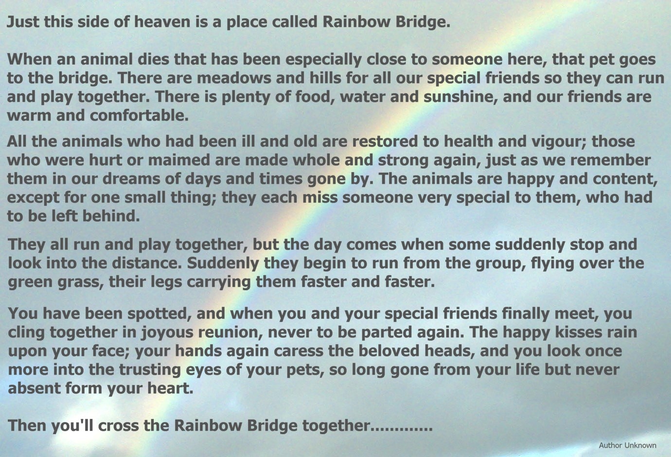 picture about Rainbow Bridge Printable referred to as Rainbow Bridge